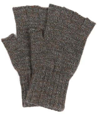 Men's Barbour Fingerless Lambswool Gloves - Green