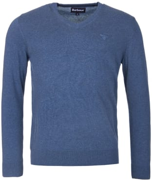 Men's Barbour Pima Cotton V-Neck Sweater - Dark Chambray