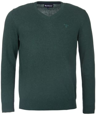 Men's Barbour Pima Cotton V-Neck Sweater - Racing Green