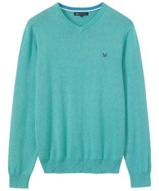 Men's Crew Clothing Foxley V-Neck Sweater - Aqua Haze