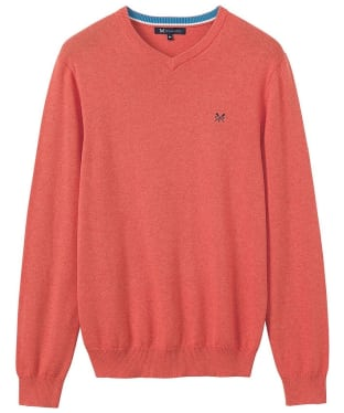 Men's Crew Clothing Foxley V-Neck Sweater - Deep Coral