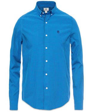 Men's Timberland Rattle River Gingham Slim Poplin Shirt - Blue Print