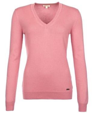 Women's Barbour Cotton Cashmere V Neck Sweater - Vintage Rose