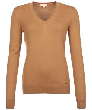 Women's Barbour Cotton Cashmere V Neck Sweater - Hessian