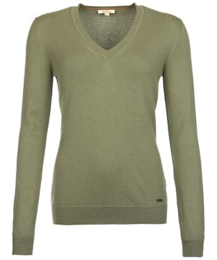 Women's Barbour Cotton Cashmere V Neck Sweater - Pale Sage