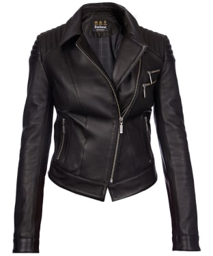 Women's Barbour International Farleigh Leather Jacket - Black