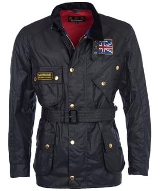 Men's Barbour International Union Jack Waxed Jacket - Black
