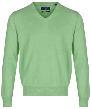 Men's GANT Lightweight Cotton V-Neck - Light Pistachio Melange