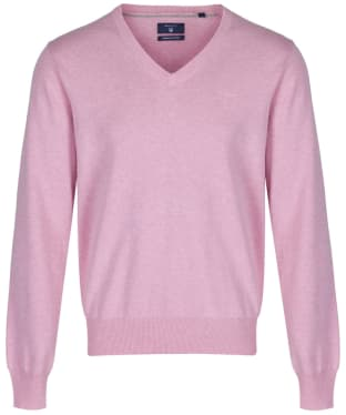 Men's GANT Lightweight Cotton V-Neck - Light Pink Melange