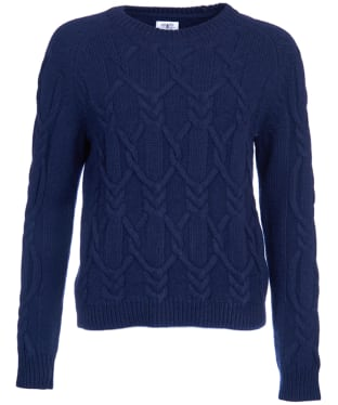 Women's Barbour Snowfall Cable Crew Neck Sweater - Navy
