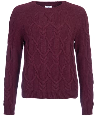 Women's Barbour Snowfall Cable Crew Neck Sweater - Merlot