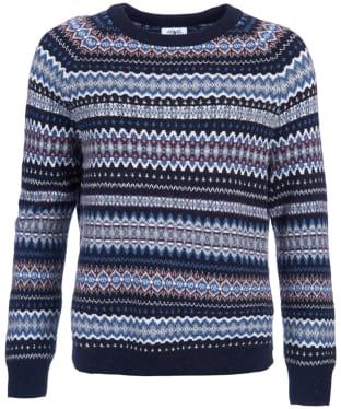 Women's Barbour Felted Fairisle Crew Neck Sweater - Navy