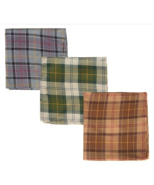 Men's Barbour Assorted Tartan Handkerchiefs - Boxed Set of 3