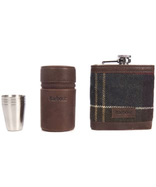 Barbour Tartan Hip Flask and Cups - Classic Tartan