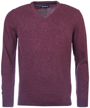 Men's Barbour Essential Lambswool V Neck Sweater - Merlot