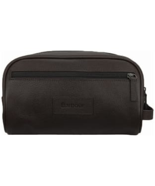 Barbour Leather Washbag - Chocolate