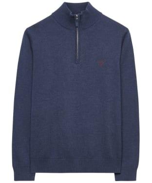 Men's GANT Contrast Cotton Zip-Neck Jumper - Dark Indigo Blue Melange
