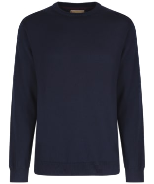 Men's Schoffel Cotton/Cashmere Crew Neck Jumper - Navy Blue