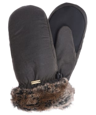 Women's Barbour Wax Faux Fur Trim Mittens - Olive