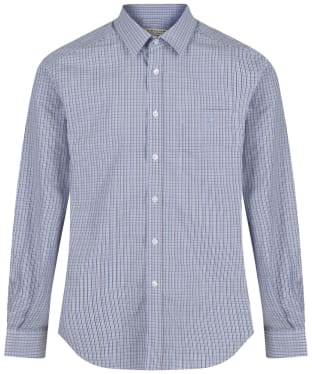 Men's R.M. Williams Collins Cotton Poplin Shirt - Blue / Brown / Navy