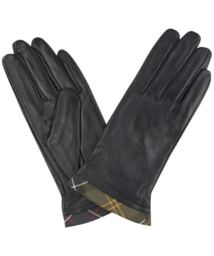 Women's Barbour Tartan Trimmed Leather Gloves - Black