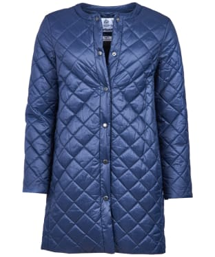 Women's Barbour Collarless Border Quilted Jacket - Navy