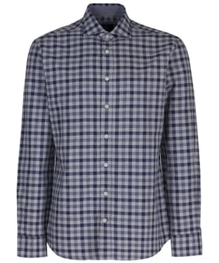 Men's Hackett Melange Gingham Check Shirt - Blue / Grey
