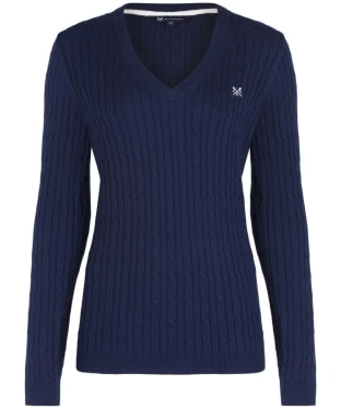 Women's Crew Clothing Heritage Cable V-neck Sweater - Navy