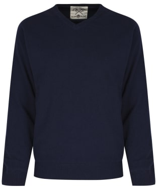 Men's Alan Paine Shenstone Vee Neck Windblock Sweater - Navy