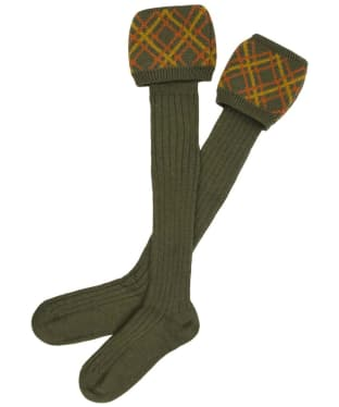 Men's Alan Paine Patterned Socks - Olive / Orange / Gold