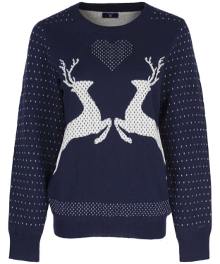 Women's GANT Reindeer Crew Neck Sweater - Evening Blue