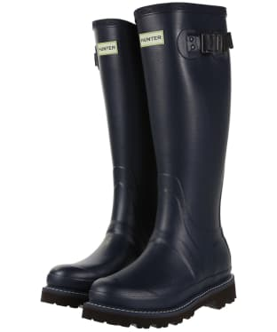 Women's Hunter Field Balmoral Poly-Lined Wellingtons - Navy / Peppercorn
