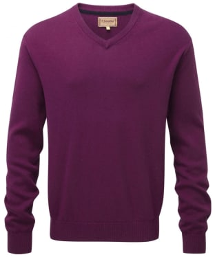 Men's Schoffel Cotton and Cashmere V Neck Jumper - Plum