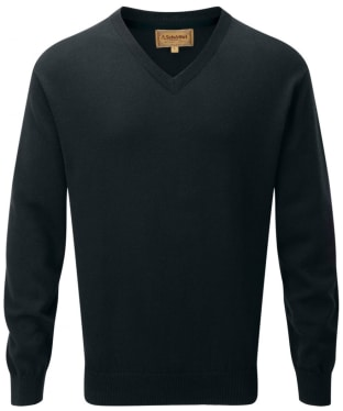 Men's Schoffel Cotton and Cashmere V Neck Jumper - Forest Green