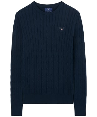 Women's GANT Stretch Cotton Cable Sweater - Evening Blue
