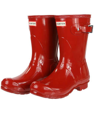 Women's Hunter Original Short Gloss Wellington Boots - Military Red