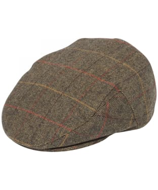 Men's Alan Paine Combrook Waterproof Tweed Flat Cap - Peat