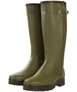 Men's Le Chameau Chasseur Leather Lined Wellingtons – 44cm calf - Vert