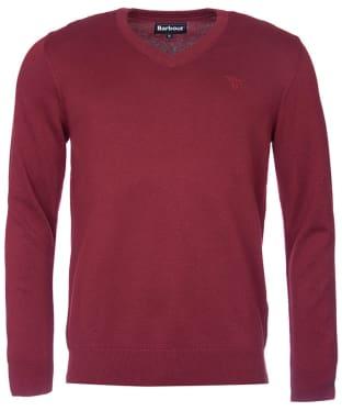 Men's Barbour Pima Cotton V-Neck Sweater - Ruby