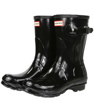 Women's Hunter Original Short Gloss Wellington Boots - Black