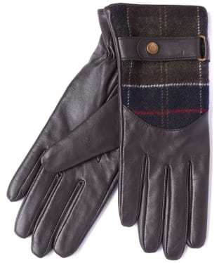 Women's Barbour Dee Leather & Tartan Gloves