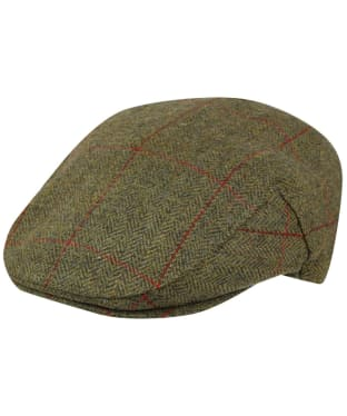 Men's Barbour Wool Crieff Flat Cap - Khaki Herringbone