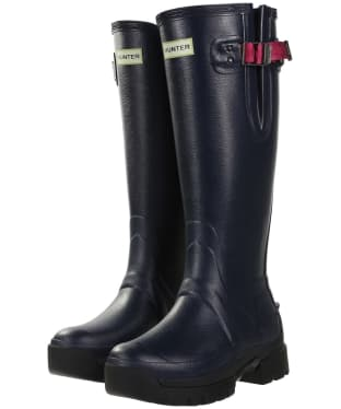 Women's Hunter Balmoral Side Adjustable 3mm Neoprene Wellingtons - Navy / Peppercorn