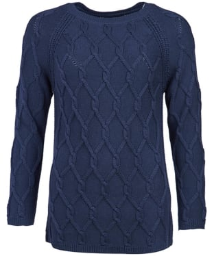 Women's Barbour Diamond Cable Knit Sweater - Navy