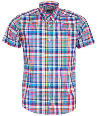 Men's Barbour Madras 3 S/S Tailored Shirt - Navy Check