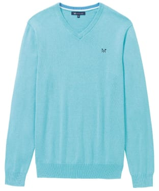 Men's Crew Clothing Foxley V-Neck Sweater - Blue Topaz