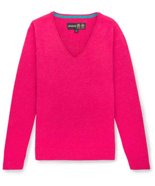 Women's Musto Lightweight Merino V-neck Sweater - Bright Rose Marl