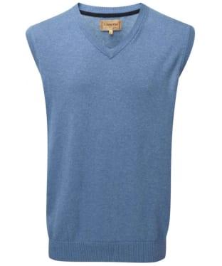 Men's Schoffel Cotton Cashmere Sleeveless V-Neck Sweater - Denim Blue