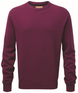 Men's Schoffel Cotton/Cashmere Crew Neck Jumper - Plum