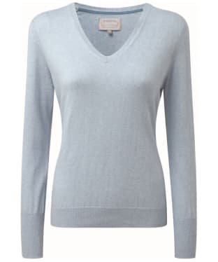 Women's Schoffel Cotton Cashmere V-Neck Sweater - Sky Blue